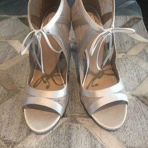 Satin bootie sandals by BHLDN from Anthroplogie